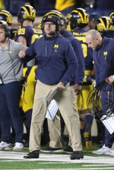 Michigan head coach Jim Harbaugh on the sideline during the 38-13 win over Wisconsin, Saturday, Oct. 13, 2018 at Michigan Stadium in Ann Arbor.