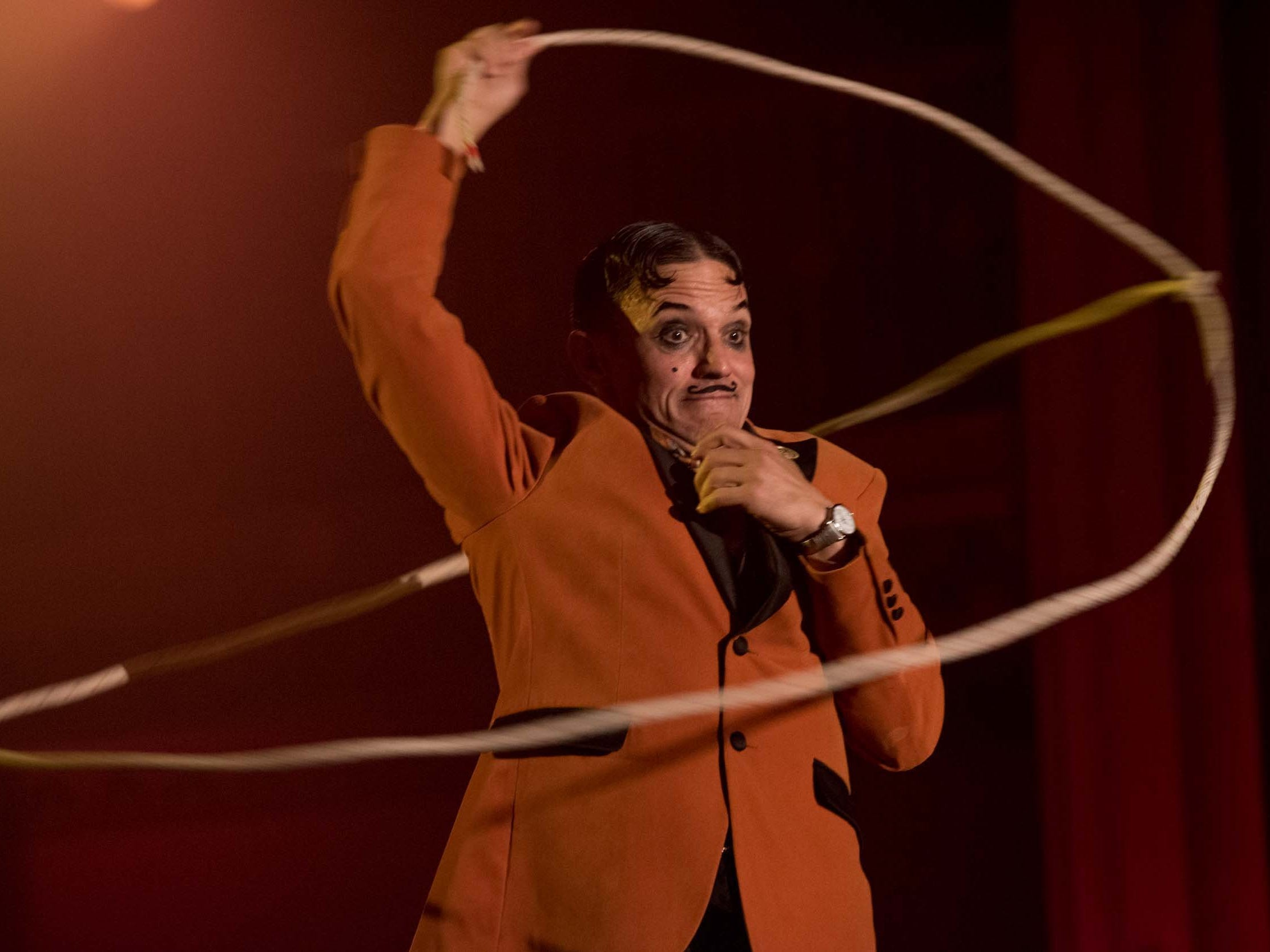Master of ceremonies The Dirty Devil entertains on the Dirty Devil's peepshow stage during Theatre Bizarre at the Masonic Temple on October 13, 2018.