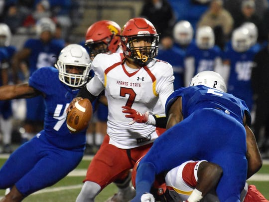 Ferris State quarterback Jayru Campbell looks for a receiver against Grand Valley State, Saturday, Oct. 13, 2018 at Lubbers Stadium in Allendale.