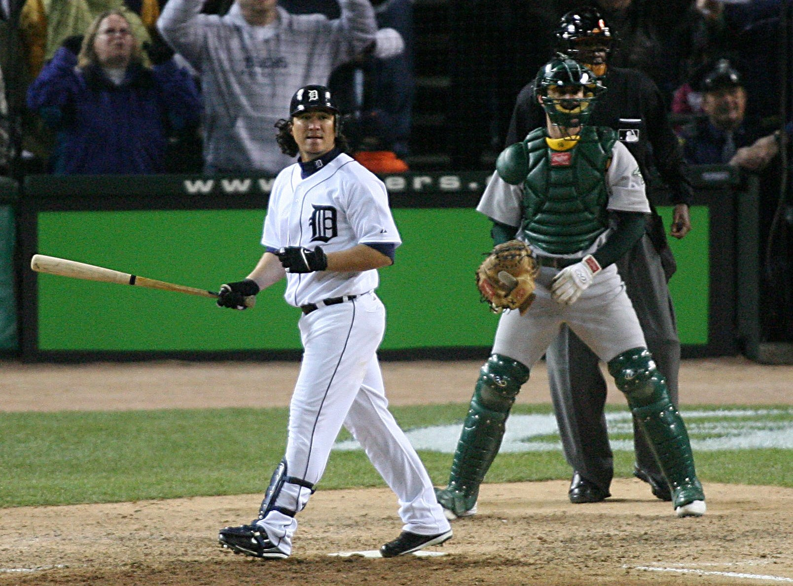 Tigers outfielder Magglio Ordonez hits a 3-run, walk-off home run to defeat the Athletics, 6-3, in Game 4 of the American League Championship Series at Comerica Park on Saturday, Oct. 14, 2006.