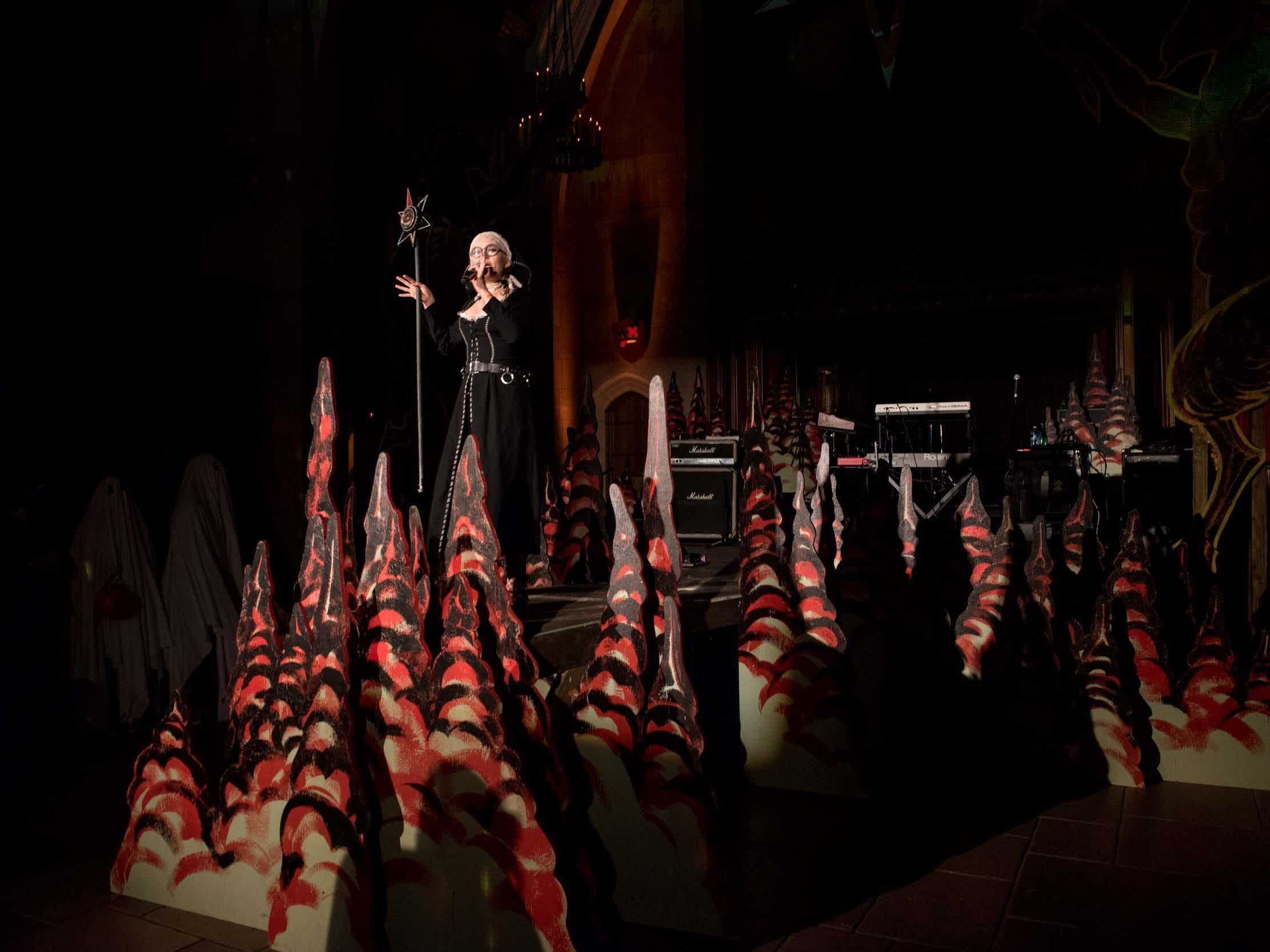Theatre Bizarre, an annual Halloween masquerade and immersive art installation, returned to the Masonic Temple in Detroit on Saturday, October 13, 2018. The R-rated, multi-sensory masquerade included music acts, burlesque dancers, suspension artists and sideshow oddities.