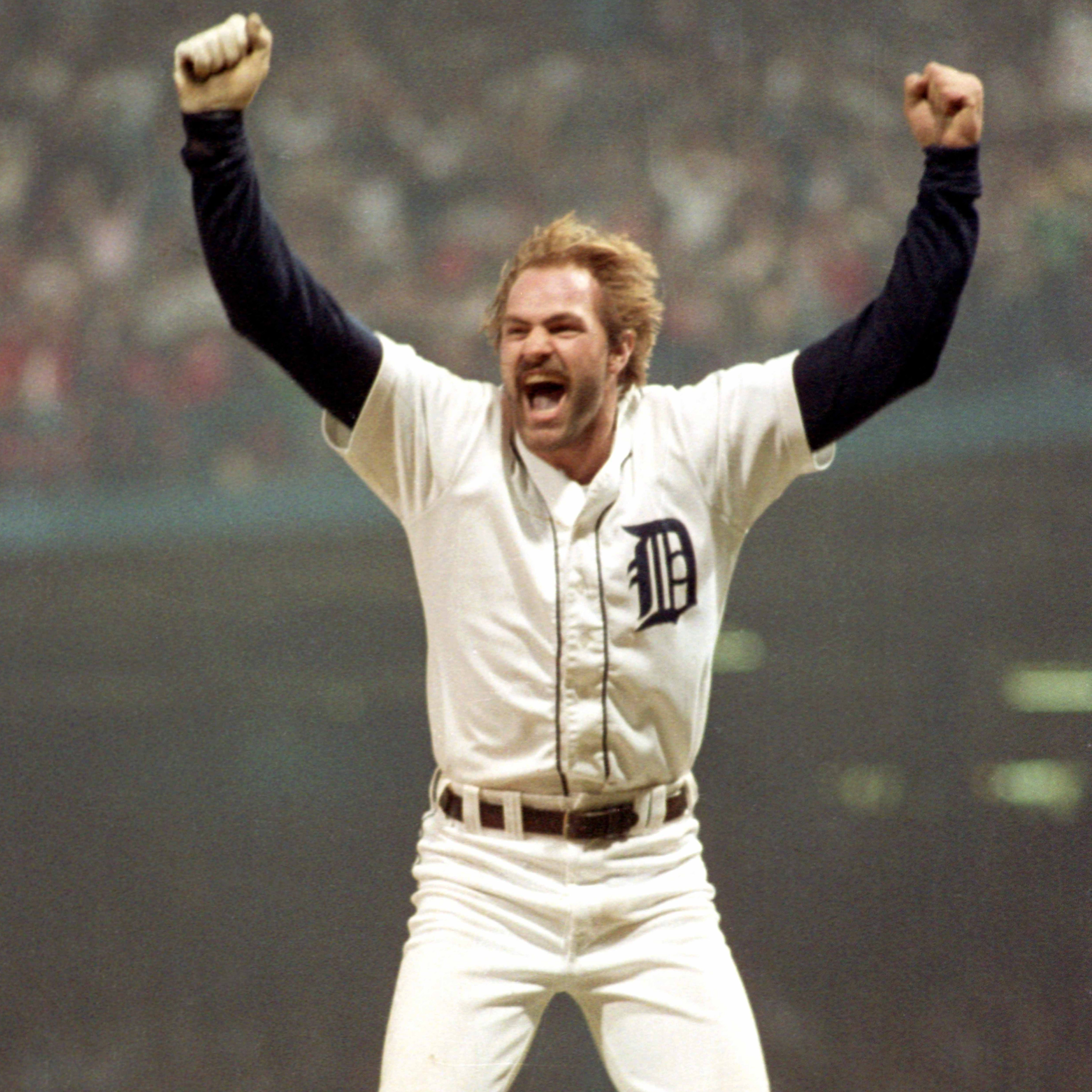Tigers outfielder Kirk Gibson celebrates his eighth-inning home run in Game 5 of the World Series on Oct. 14, 1984, at Tiger Stadium.