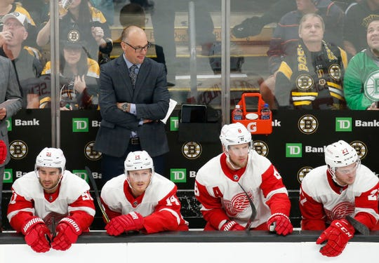 Detroit Red Wings head coach Jeff Blashill looks on from the bench during the third period of the loss to Boston on Saturday.