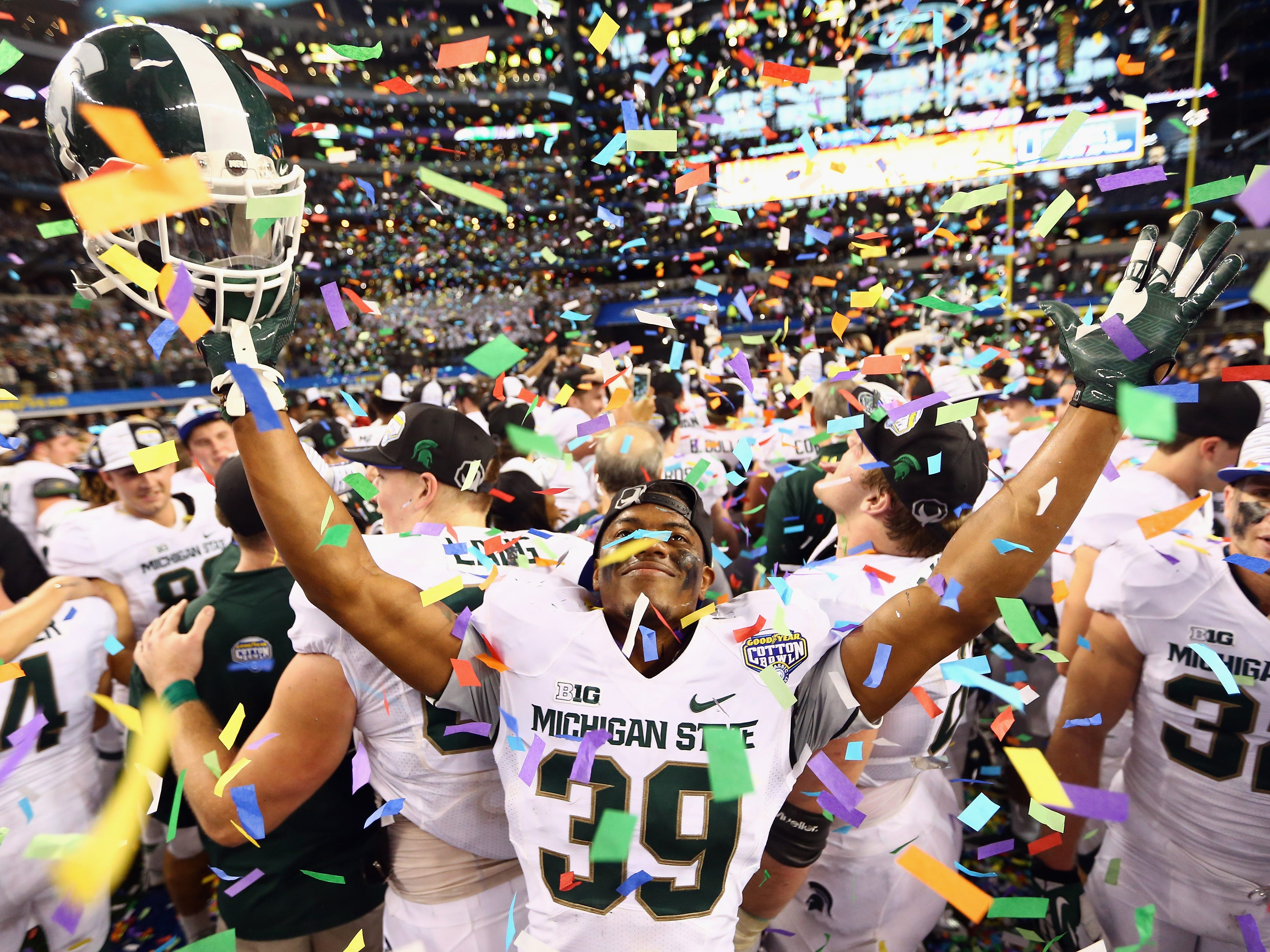 Jan. 1, 2015: No. 7 Michigan State 42, No. 4 Baylor 41 (Cotton Bowl): Jermaine Edmondson leads the celebration after the comeback victory.