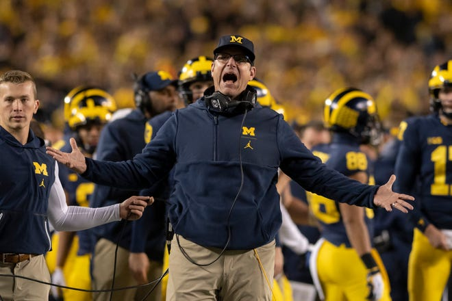 Michigan head coach Jim Harbaugh is going for his second win against Michigan State as the Wolverines' head coach.
