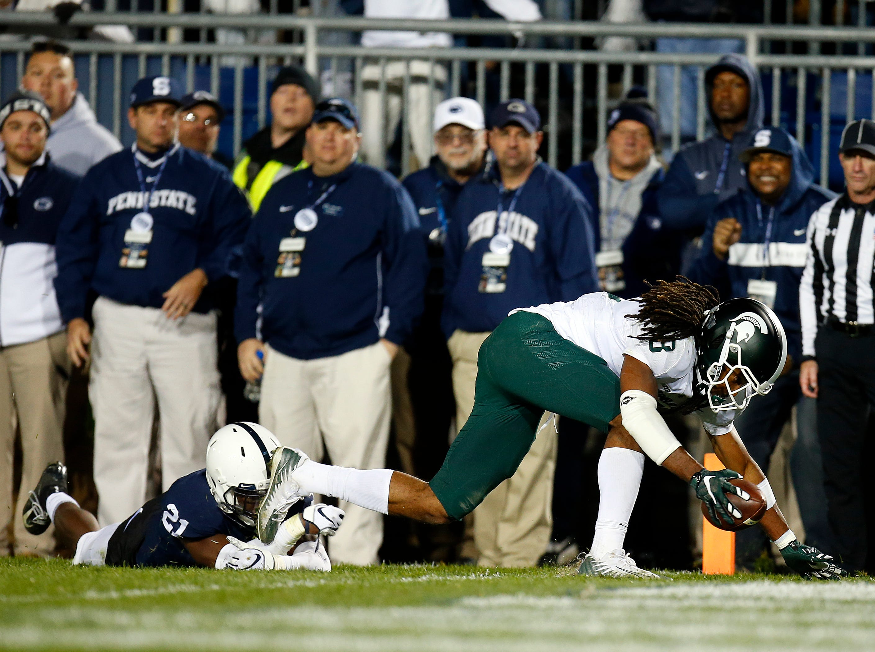 Oct. 13, 2018: Unranked Michigan State 21, No. 8 Penn State 17: Felton Davis III catches a 25-yard touchdown pass late in the fourth quarter.