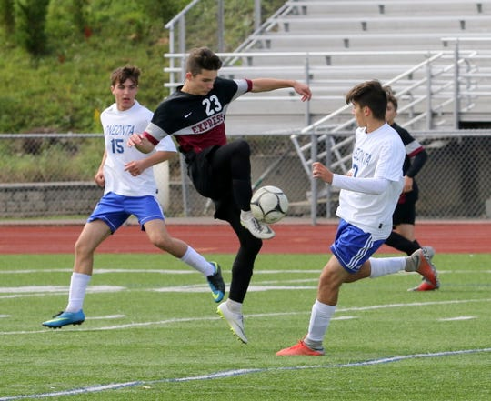 Max Odum of Elmira kicks the ball during a 2-0 win over Oneonta in a STAC boys soccer semifinal Oct. 13, 2018 at Ernie Davis Academy.