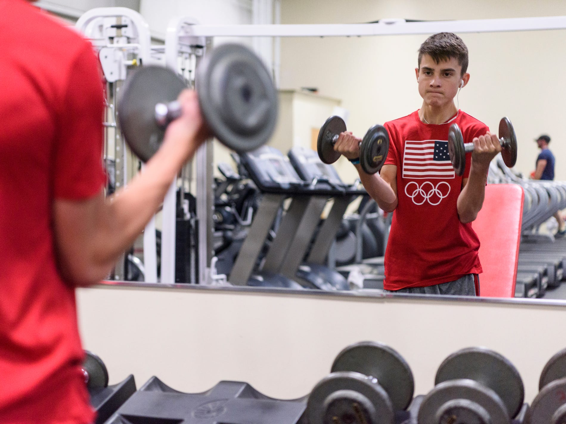 Sam Archuleta works out at Elite Fitness Center in Evansville most week nights to continue building strength. He was diagnosed with a rare degenerative neuromuscular disorder called Friedreich's ataxia (FA) in March.