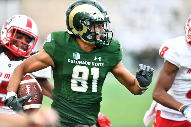 CSU receiver Bisi Johnson runs after making a catch during the Rams' 20-18 win Saturday over New Mexico at Canvas Stadium. The victory, the Rams' second straight after a 1-4 start, moves them up two spots to No. 9 this week in our Mountain West power ratings.