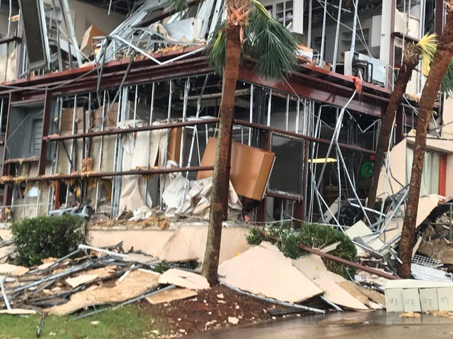 A building at Bay Medical Center in Panama City, Fl., shows damage shortly after Hurricane Michael passed through.