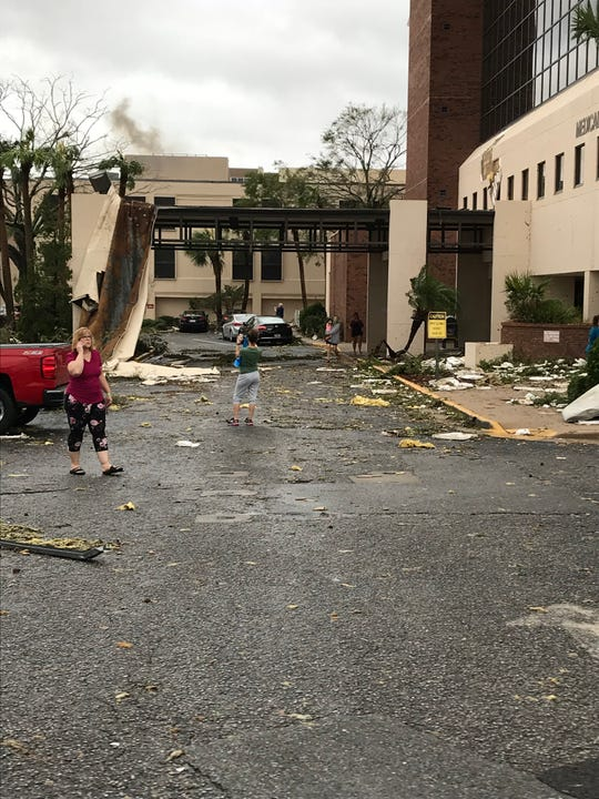 Buildings at Bay Medical Center in Panama City, Fl., shows damage shortly after Hurricane Michael passed through.