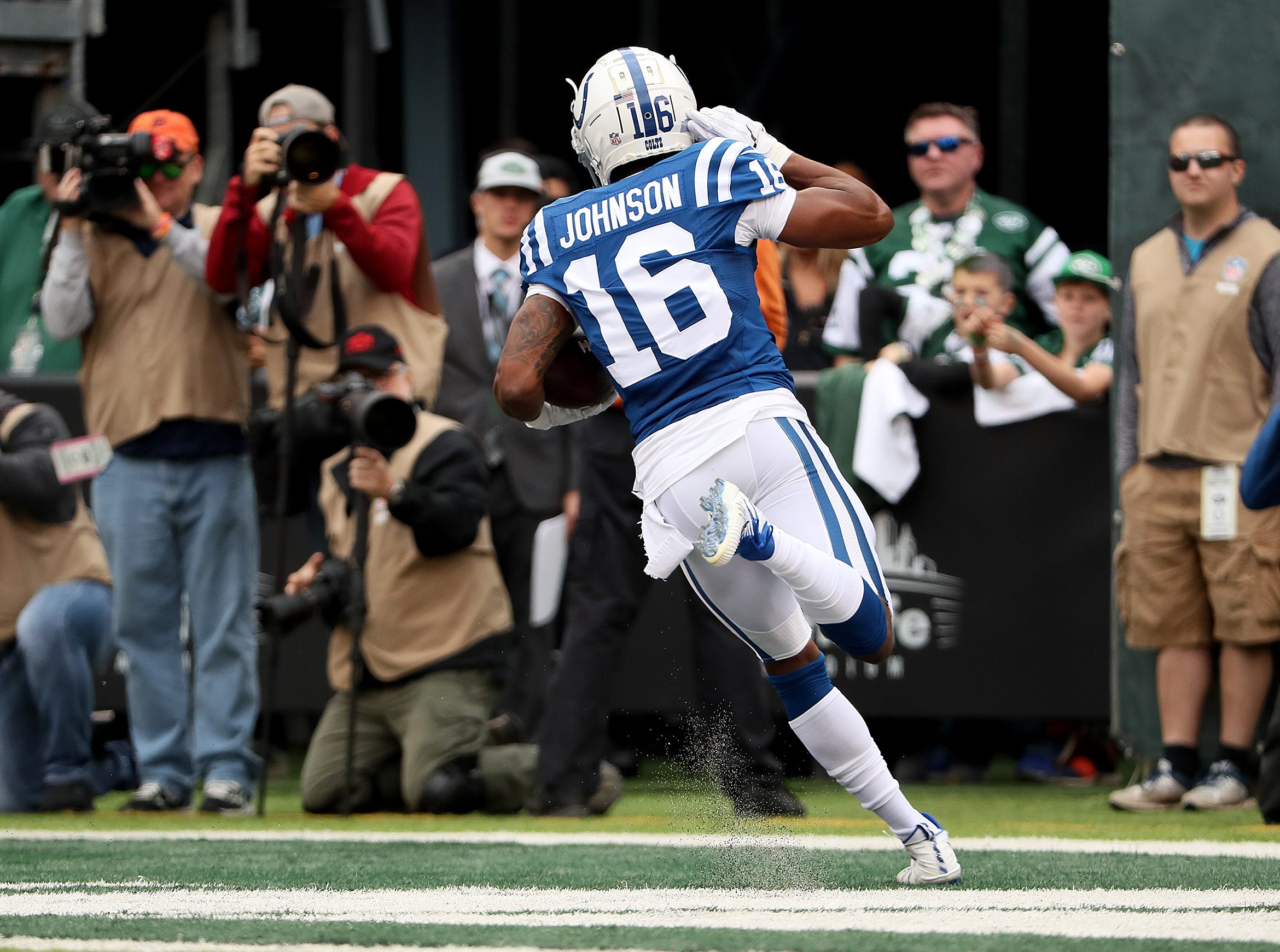 Indianapolis Colts wide receiver Marcus Johnson (16) celebrates his touchdown in the first quarter of their game against the New York Jets at MetLife Stadium in East Rutherford, N.J., Sunday, Oct. 14, 2018.