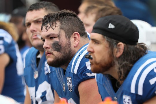 Indianapolis Colts offensive guard Quenton Nelson (56) and other dejected offensive linemen on the bench late in the fourth quarter of their game against the New York Jets at MetLife Stadium in East Rutherford, N.J., Sunday, Oct. 14, 2018.