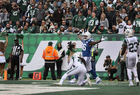 Indianapolis Colts tight end Erik Swoope (86) celebrates his touchdown in the fourth quarter of their game against the New York Jets at MetLife Stadium in East Rutherford, N.J., Sunday, Oct. 14, 2018.