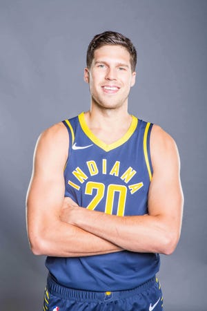 Sep 24, 2018; Indianapolis, IN, USA; Indiana Pacers forward Doug McDermott (20) poses for a photo during media day at Bankers Life Fieldhouse. Mandatory Credit: Trevor Ruszkowski-USA TODAY Sports