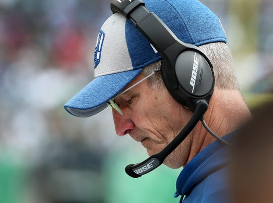 Indianapolis Colts head coach Frank Reich looks at his play sheet in the second quarter of their game against the New York Jets at MetLife Stadium in East Rutherford, N.J., Sunday, Oct. 14, 2018.