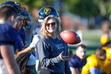 Hope Nelson is a freshman student football coach for Franklin College. But it's not her dream. Not even close. Nelson is ready to make tackles.
