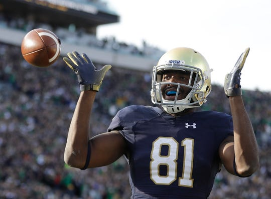 Notre Dame's Miles Boykin (81) celebrates after making the game winning catch during the second half of an NCAA college football game against Pittsburgh, Saturday, Oct. 13, 2018, in South Bend, Ind. Notre Dame won 19-14. (AP Photo/Darron Cummings)