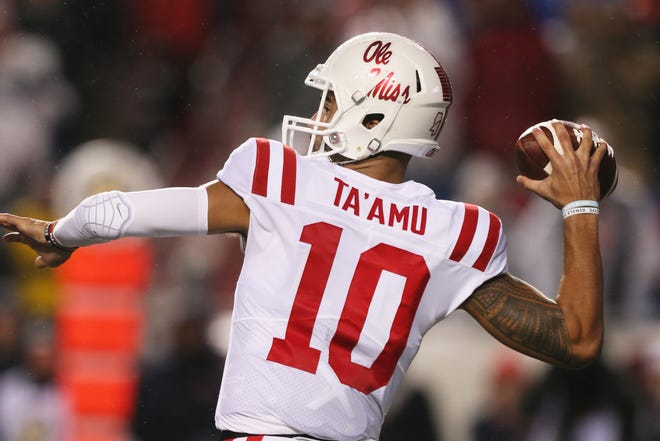 Ole Miss quarterback Jordan Ta'amu was named the SEC's Offensive Player of the Week after he accounted for 528 offensive yards and three TDs in the Rebels' 37-33 comeback win Saturday over Arkansas in Little Rock. Photo by Nelson Chenault-USA TODAY Sports
