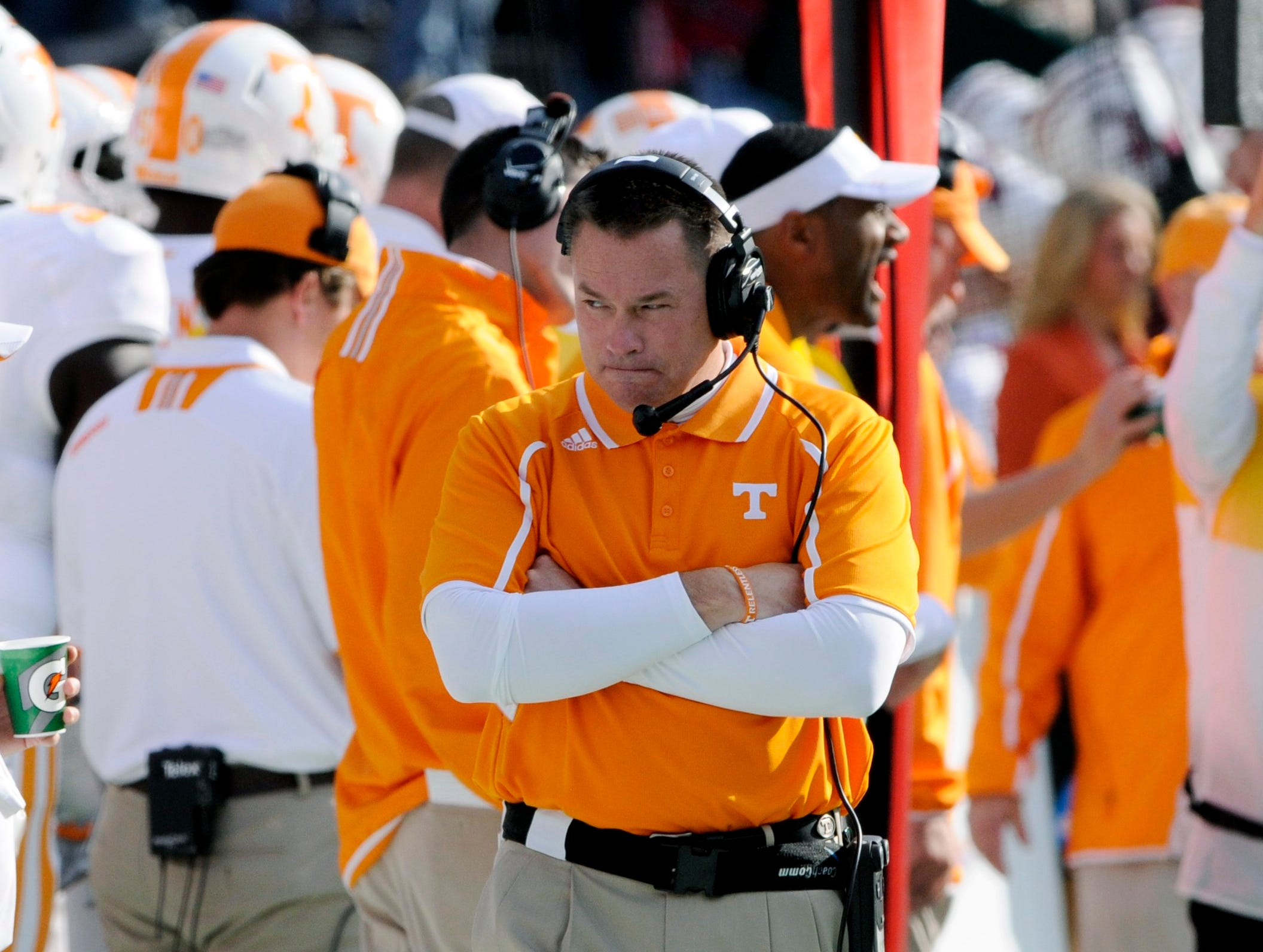 Tennessee head coach Butch Jones was not happy with their first half effort against Alabama Saturday, Oct. 26, 2013 at Bryant-Denny Stadium in Tuscaloosa, Ala.