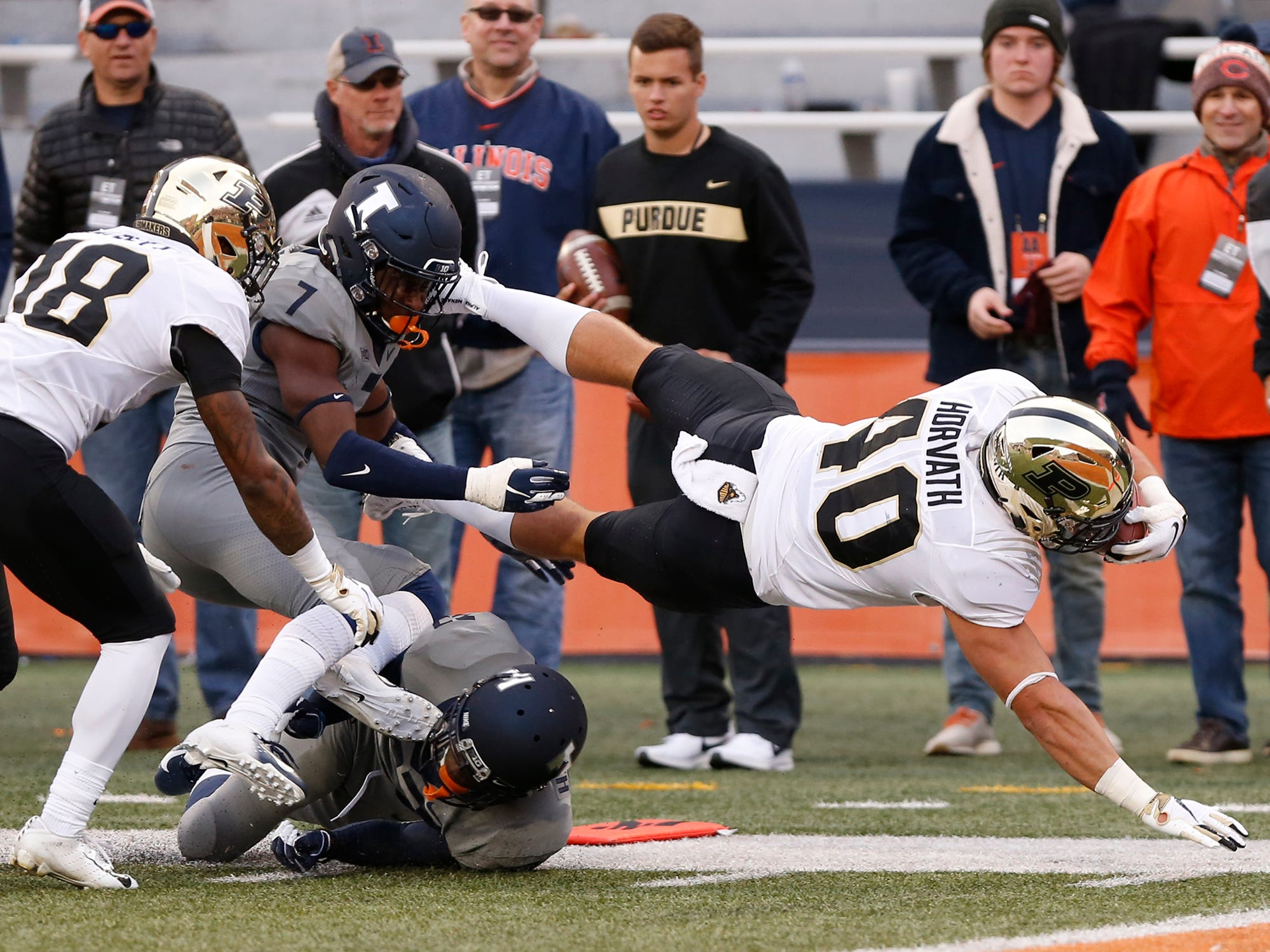 Alexander Horvath of Purdue lunges for the goal line, but comes up short on a second half carry against Illinois Saturday, October 13, 2018, in Champaign, Illinois. Purdue thumped Illinois 46-7.