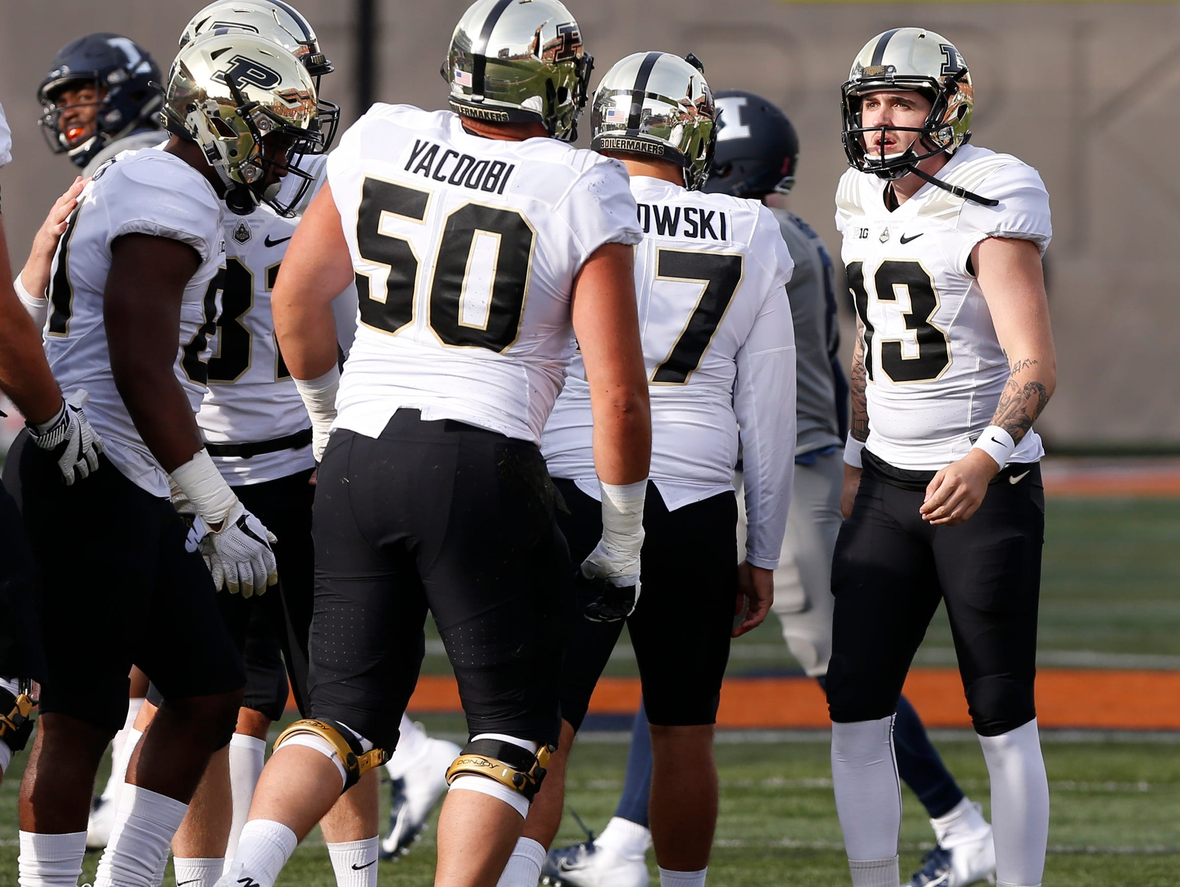 Purdue kicker Spencer Evans thanks his teammates after kicking a field goal at 6:15 in the second quarter against Illinois Saturday, October 13, 2018, in Champaign, Illinois. Purdue defeated Illinois 46-7.