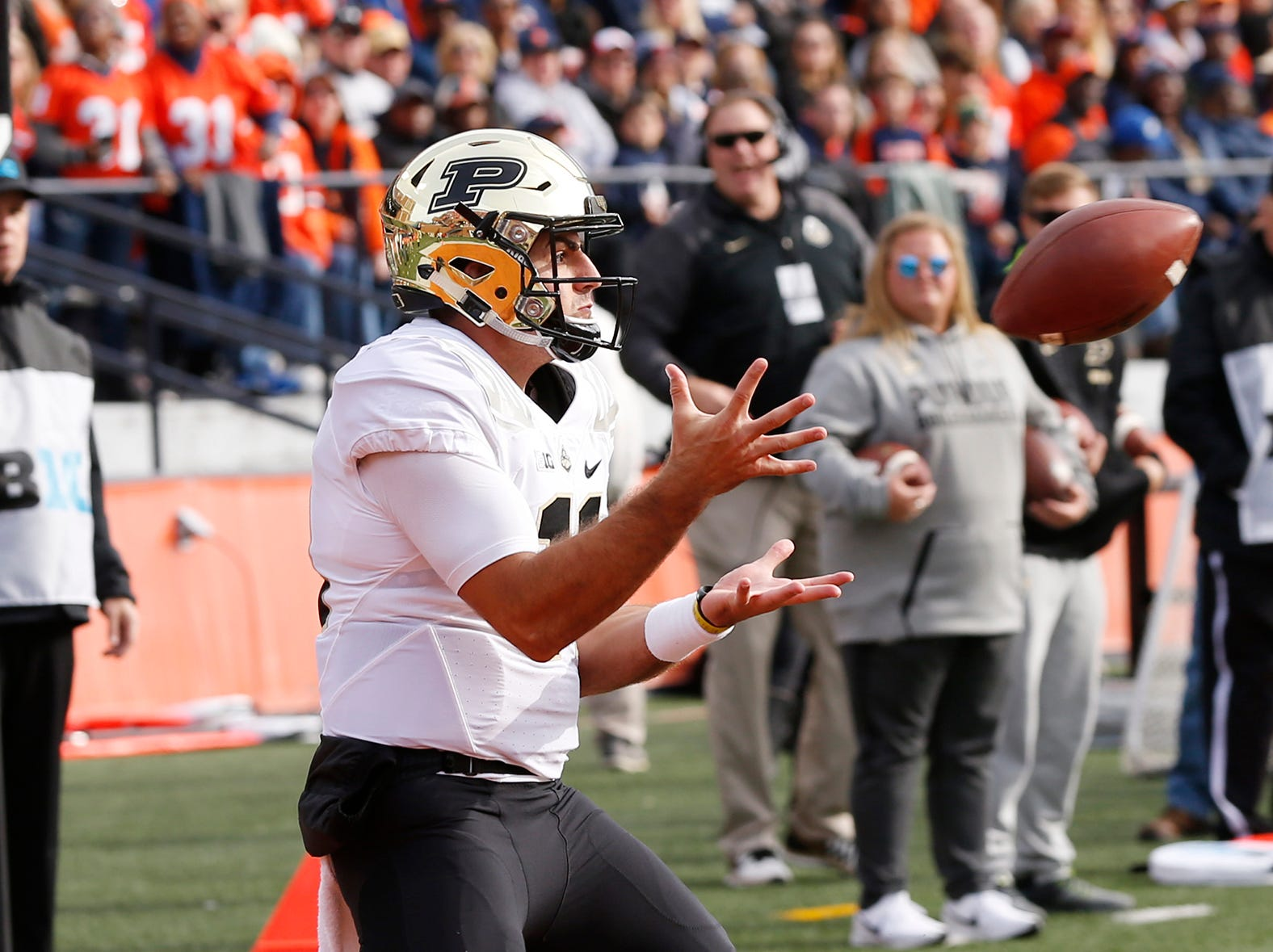 Purdue quarterback David Blough hauls in a touchdown pass on a trick play at 4:06 in the first quarter against Illinois Saturday, October 13, 2018, in Champaign, Illinois. Purdue drubbed Illinois 46-7.