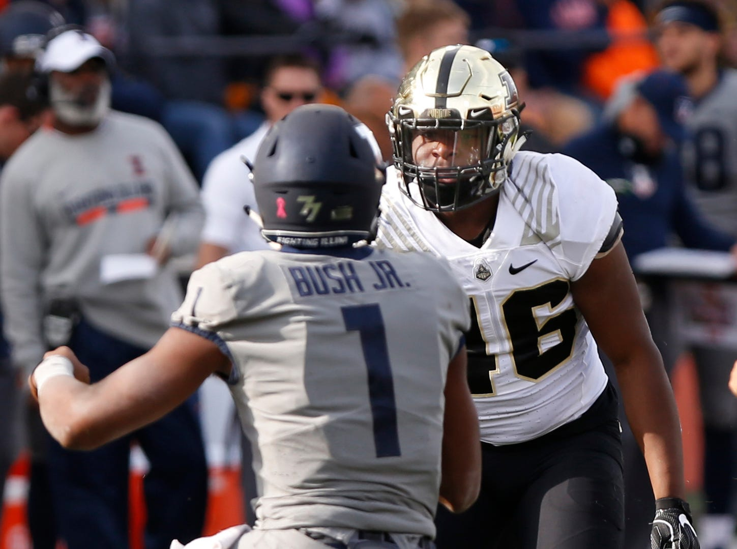 Cornel Jones of Purdue glares at AJ Bush Jr. after delivering a hard hit to the Illinois quarterback in the first half Saturday, October 13, 2018, in Champaign, Illinois. Purdue defeated Illinois 46-7.