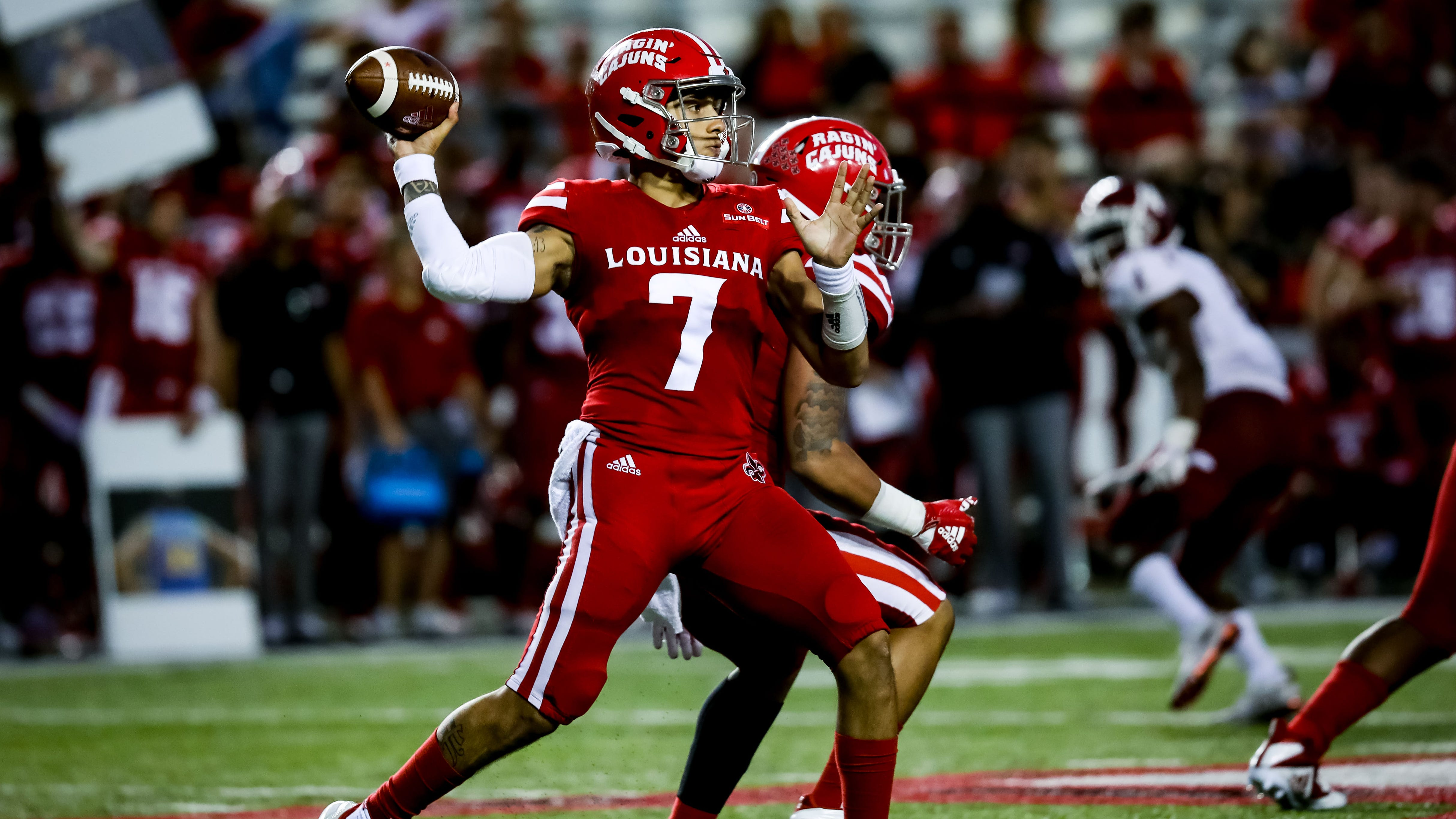 UL QB Andre Nunez looks downfield for a receiver in the football game between UL and New Mexico State University at Cajun Field in Lafayette, Louisiana on October 13, 2018.