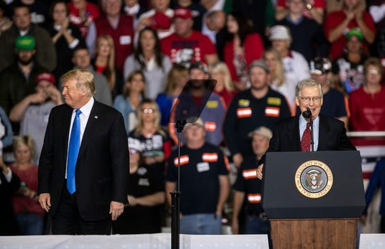 President Donald Trump shared the stage with Senate Majority Leader Mitch McConnell during a 2018 rally on the Eastern Kentucky University campus.