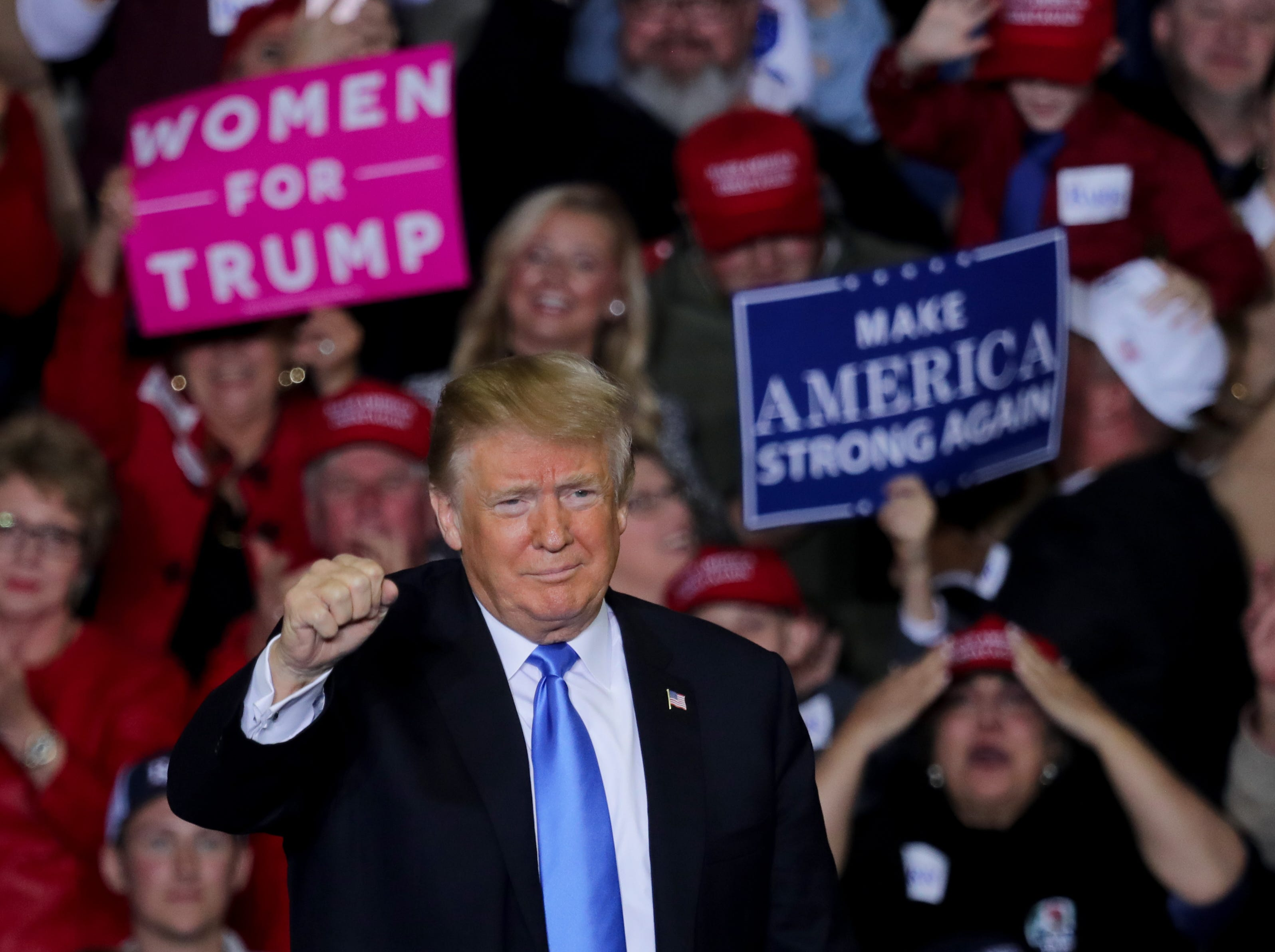 President Donald Trump holds a rally in Richmond, Kentucky on Saturday night. 