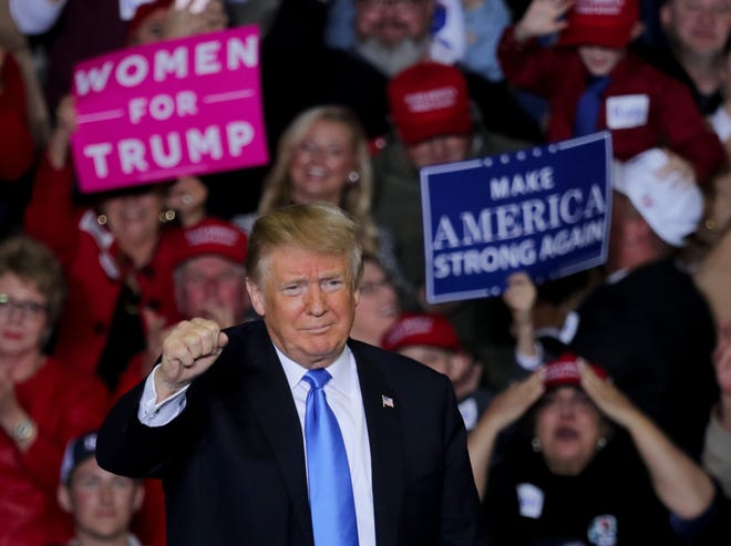 President Donald Trump holds a rally in Richmond, Kentucky on Saturday night. Oct. 13, 2018