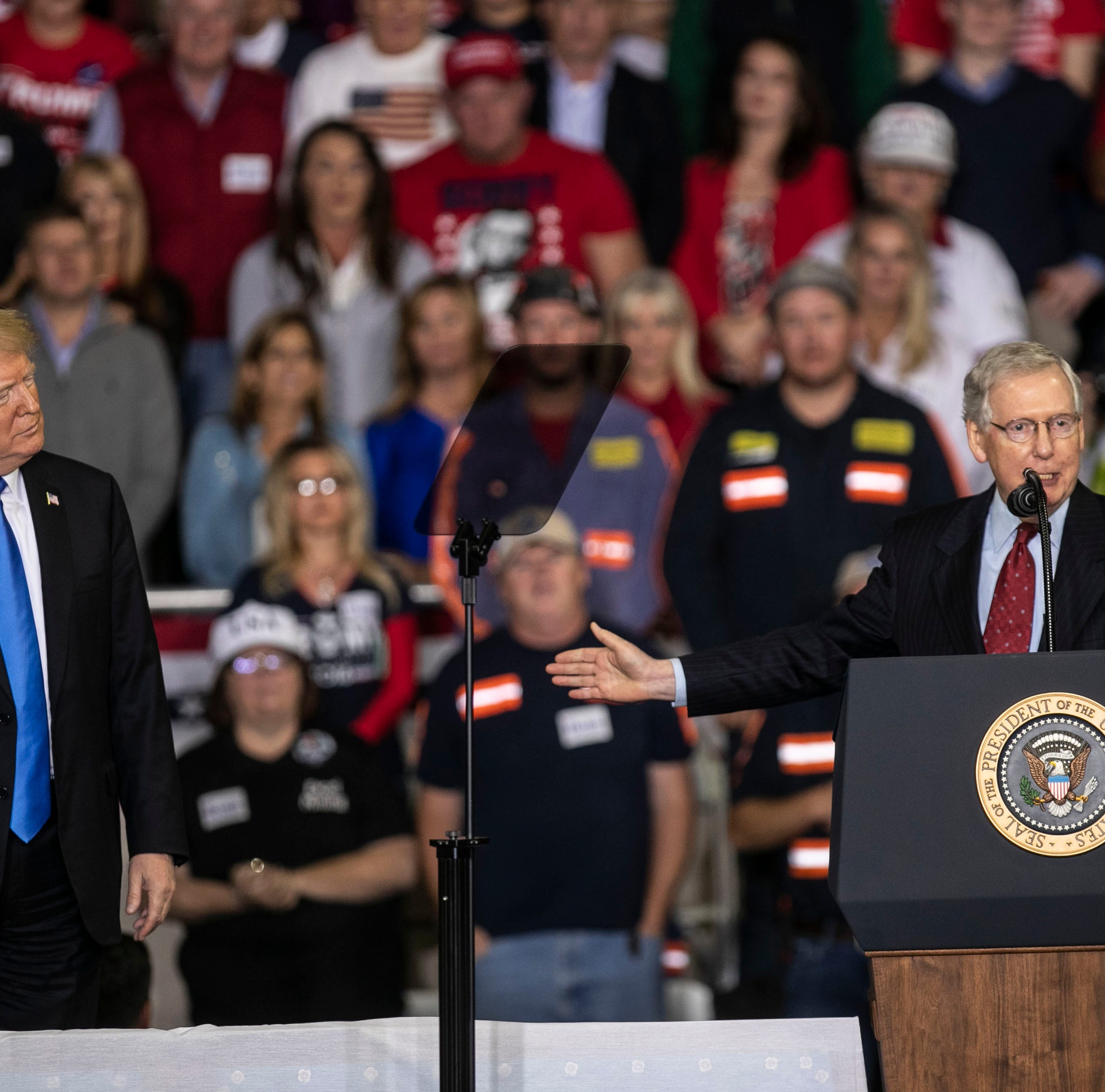 President Donald Trump shared the stage with Senate Majority Leader Mitch McConnell during the rally on the Eastern Kentucky University campus Saturday night.