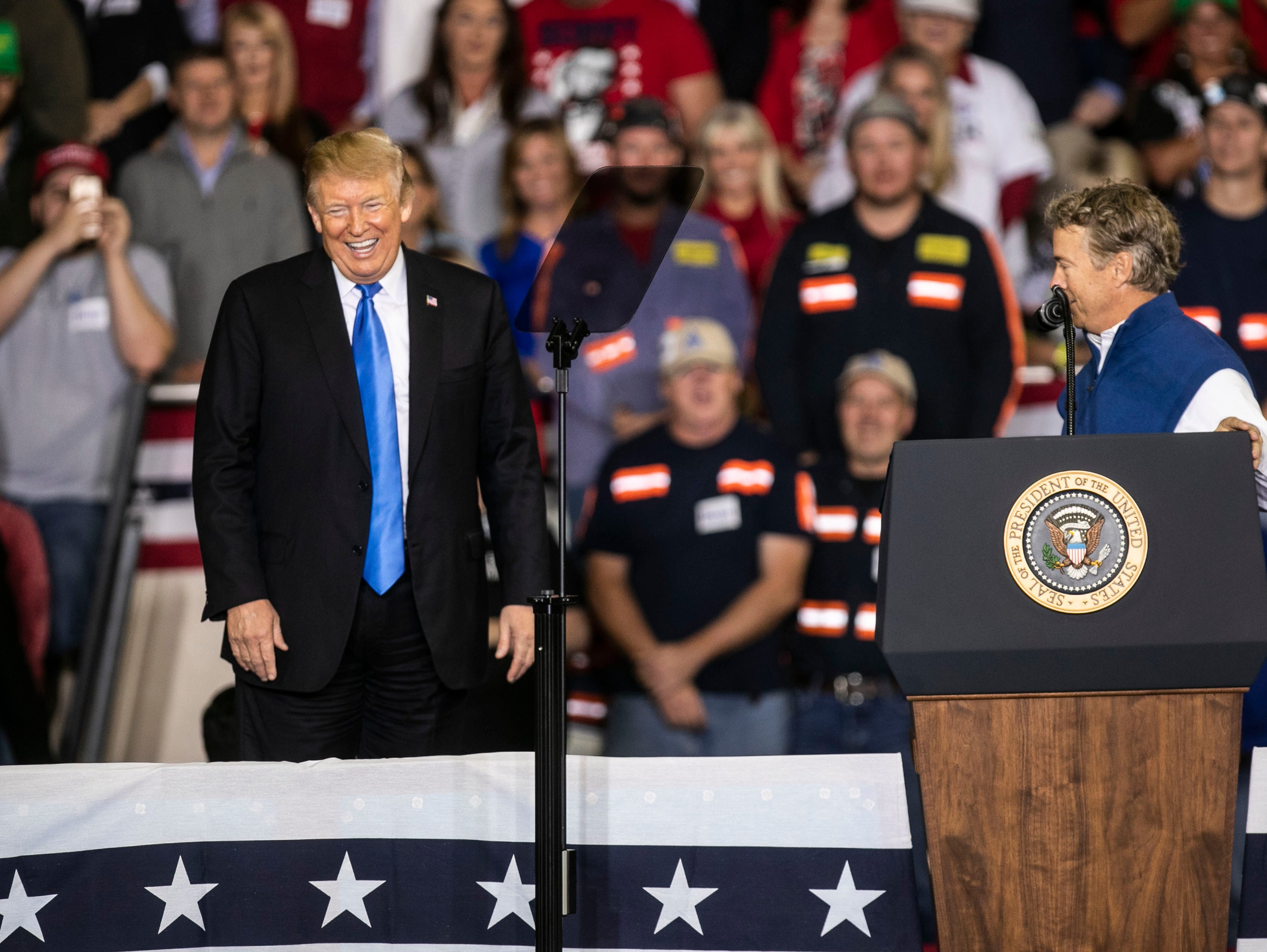 President Donald Trump shared the stage with Senator Rand Paul during the rally on the Eastern Kentucky University campus Saturday night.