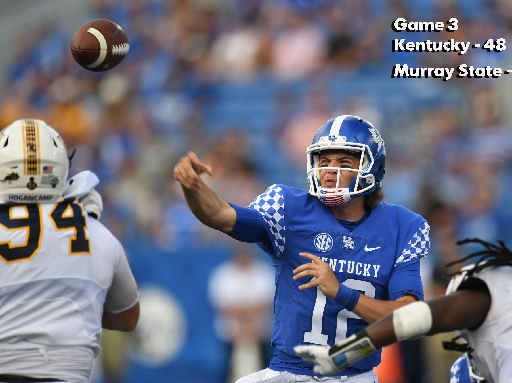 UK quarterback Gunnar Hoak throws a touchdown during the University of Kentucky football game against Murray State at Kroger Field in Lexington, Kentucky, on Saturday, Sept. 15, 2018.