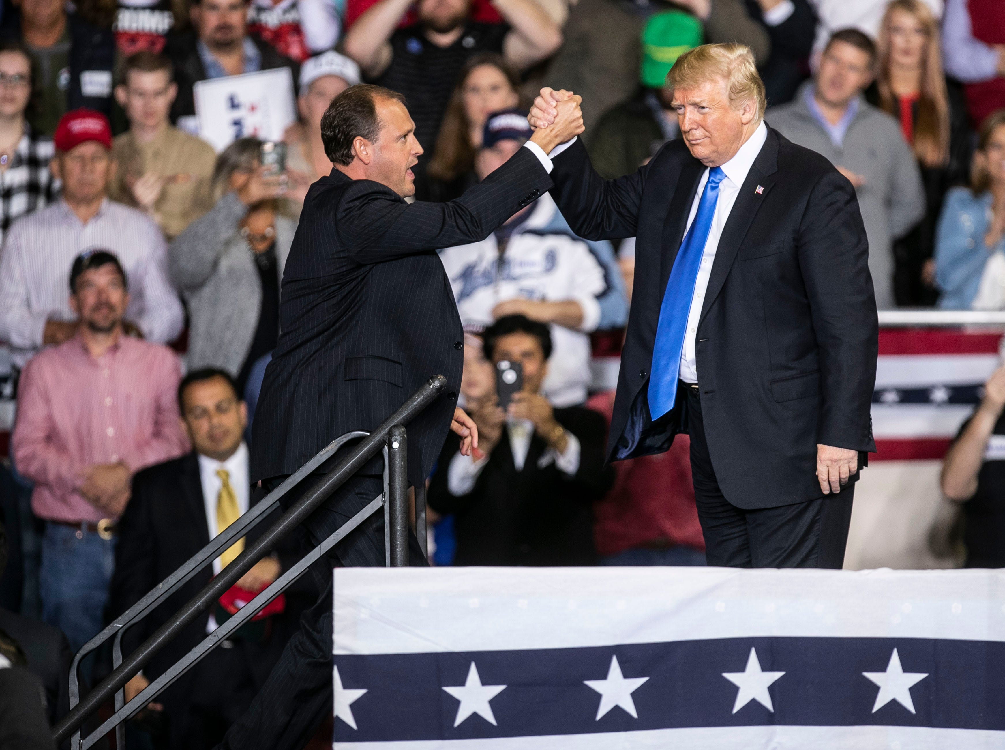 President Donald Trump urged the crowd to vote for Republican Kentucky representative Andy Barr at the conclusion of his speech on the Eastern Kentucky University campus Saturday night.