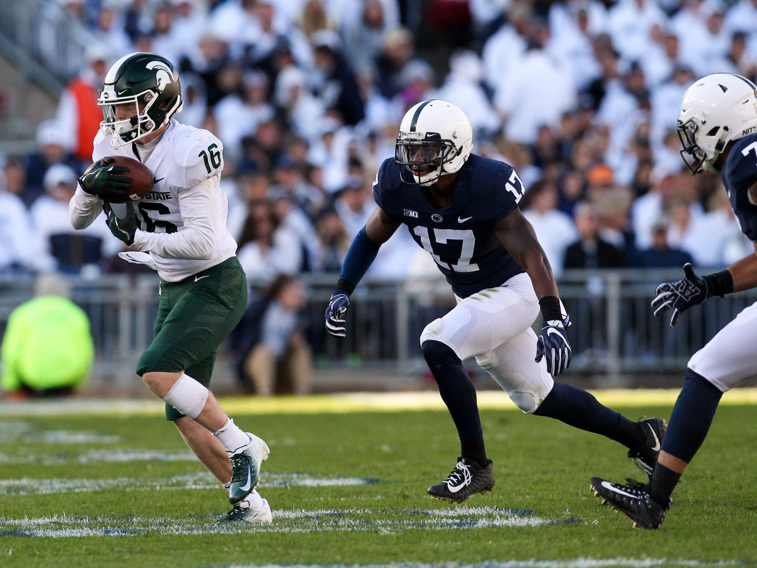Michigan State Spartans wide receiver Brandon Sowards (16) makes a catch during the second quarter against the Penn State Nittany Lions at Beaver Stadium. Mandatory Credit: Matthew O'Haren-USA TODAY Sports