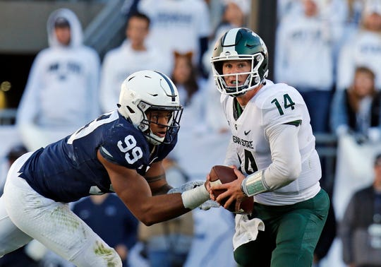 Brian Lewerke's season went from frustrating to worse when he injured his throwing shoulder on Oct. 13 at Penn State.