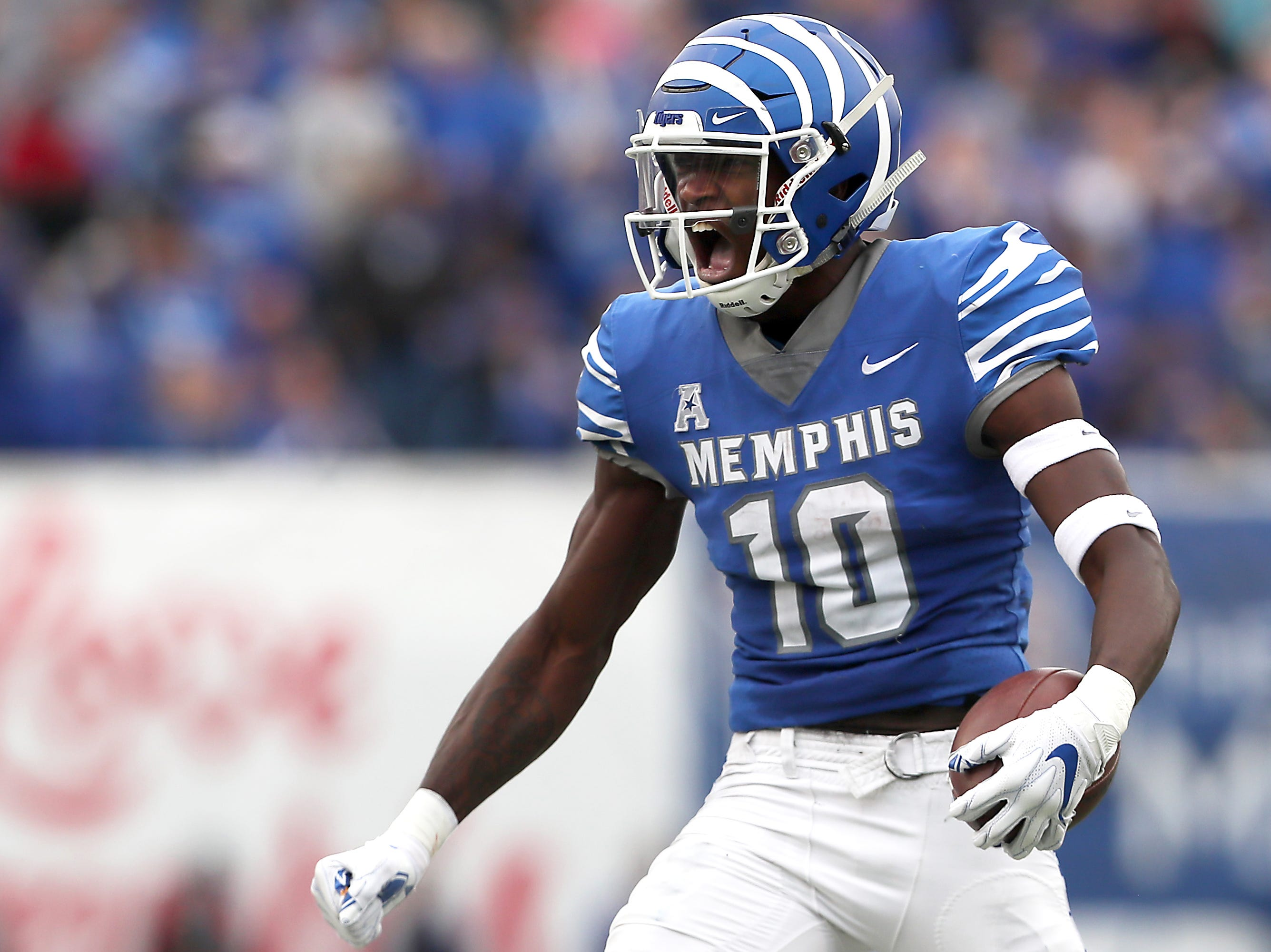 Memphis receiver Damonte Coxie celebrates a first down catch against UCF during their game at the Liberty Bowl in Memphis, Tenn., Saturday, October 13, 2018.
