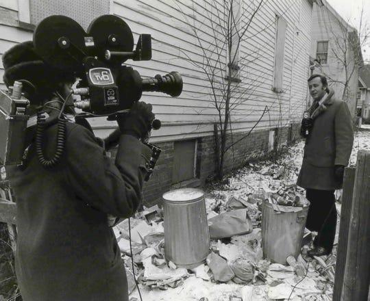 1973 - TV6 reporter Tom Hooper on assignment.