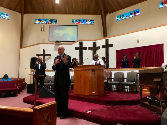 Milwaukee Mayor Tom Barrett speaks during a Sunday service at Ebenezer Church of God in Christ to mark the 8th annual Strong Baby Sabbath.