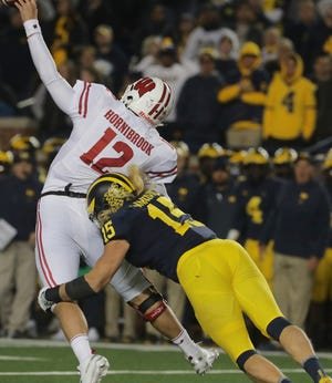 Wisconsin quarterback Alex Hornibrook just gets off a pass before he gets drilled by Michigan defensive lineman Chase Winovich during the fourth quarter Saturday night.