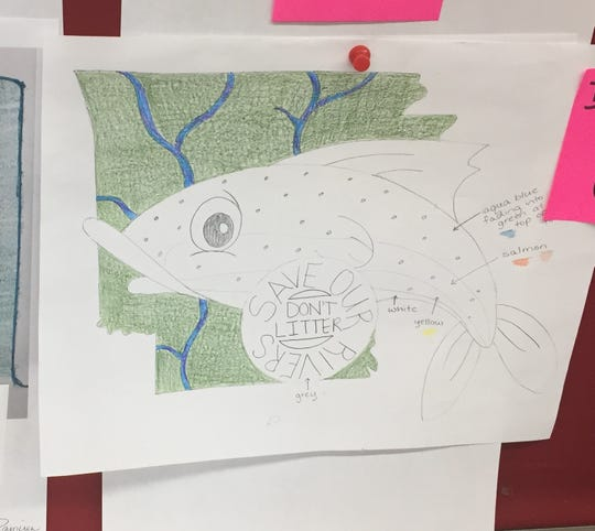 This design will be painted onto a storm drain near the intersection of Bomber Boulevard and U.S Highway 62/412 B. It will be painted by Grace Hilvert with help from Ava Obert.