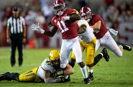 Alabama wide receiver Henry Ruggs, III, (11) is injured as he is tackled by Missouri in second half action at Bryant Denny Stadium in Tuscaloosa, Ala., on Saturday October 13, 2018.