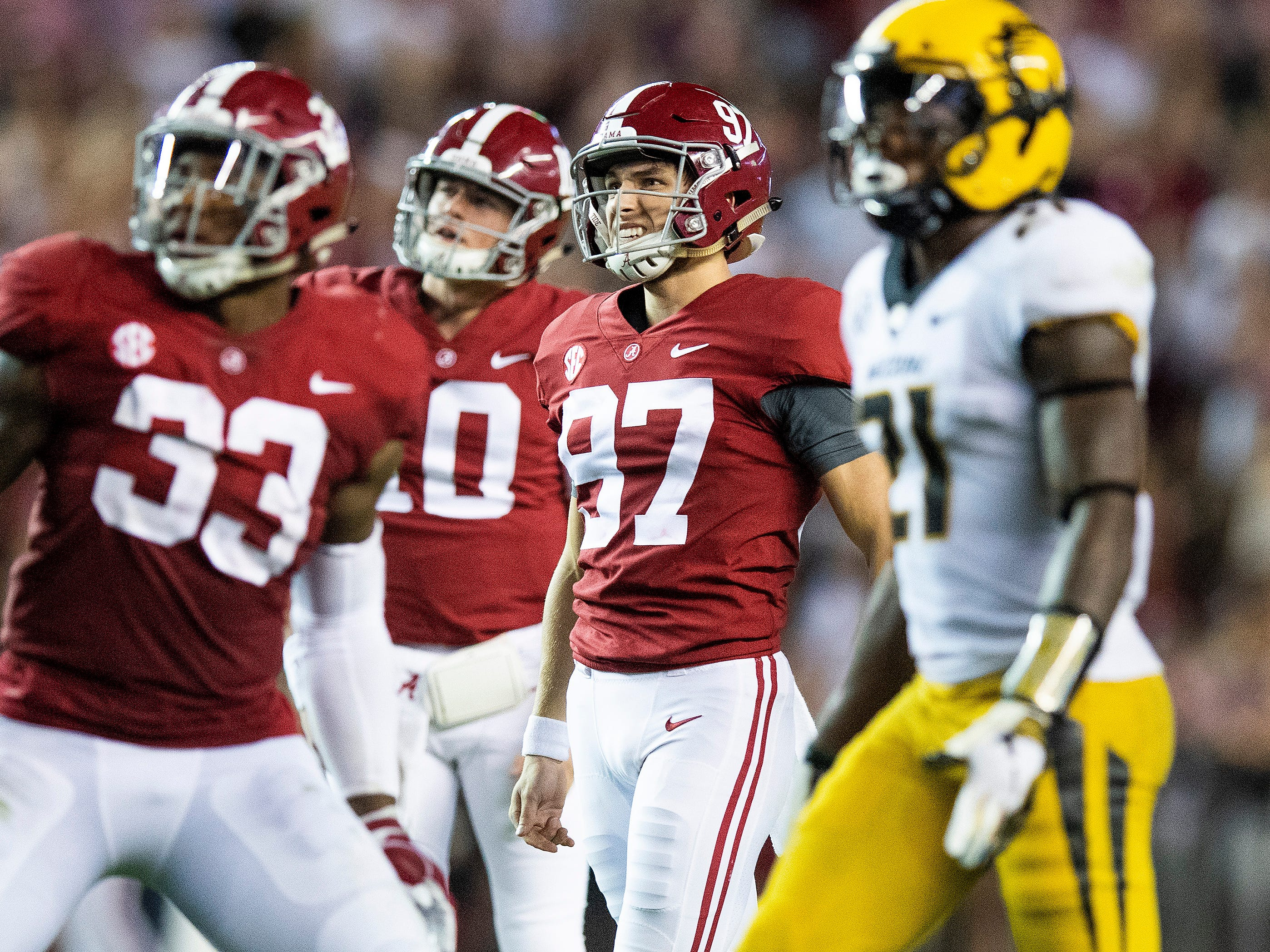 Alabama kicker Joseph Bulovas (97) reacts to missing a long field goal against Missouri in second half action at Bryant Denny Stadium in Tuscaloosa, Ala., on Saturday October 13, 2018.