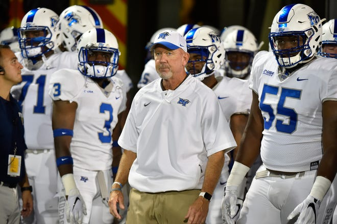 MTSU coach Rick Stockstill looks on prior to the Blue Raiders' game against Florida International on Oct. 13, 2018.