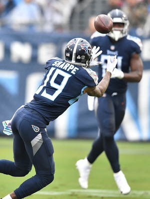 Titans wide receiver Tajae Sharpe catches a Marcus Mariota pass on Oct. 14. Sharpe has become one of Mariota's most reliable targets on third down.