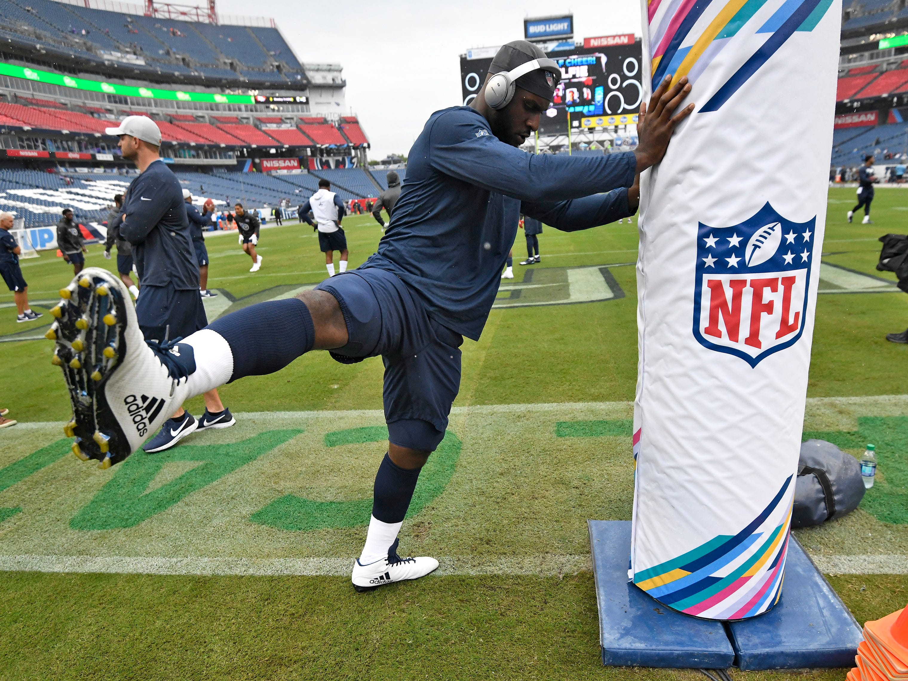 Titans linebacker Rashaan Evans (54) stretches before the game against the Ravens at Nissan Stadium Sunday, Oct. 14, 2018, in Nashville, Tenn.