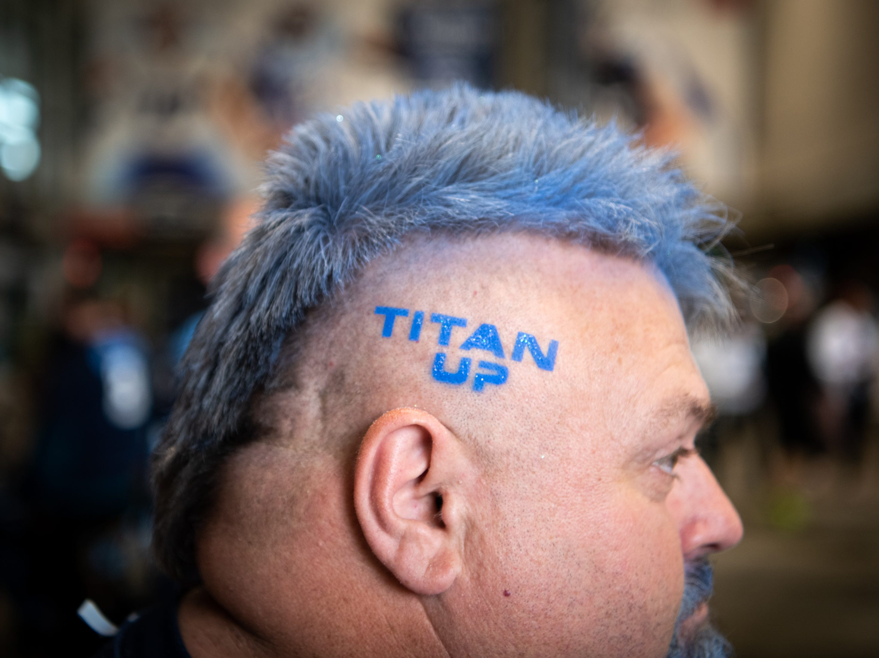 Richard Brewer, of Loretto, Tenn., heads into the stadium before the game between the Tennessee Titans and the Baltimore Ravens at Nissan Stadium in Nashville, Tenn., Sunday, Oct. 14, 2018.