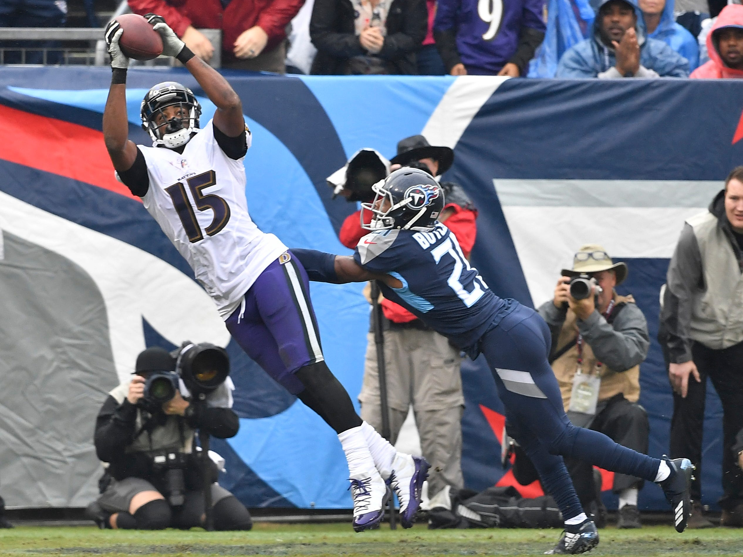 Biggest letdown: Malcom Butler -- Ravens wide receiver Michael Crabtree (15) pulls in a touchdown catch over Titans cornerback Malcolm Butler (21) in the first quarterat Nissan Stadium Sunday, Oct. 14, 2018, in Nashville, Tenn.